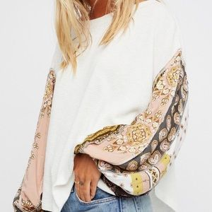 Free People Blossom Paisley Thermal Knit Top White